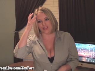 Busty maggie masturbates at desk...