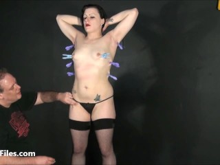 Tit whipping of slave Isabel Dean in hardcore impact play