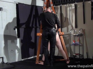 Swedish amateur submissive Vicky Valkyries dungeon bondage and whipping post spanking of chubby enslaved redhead in bdsm and pain