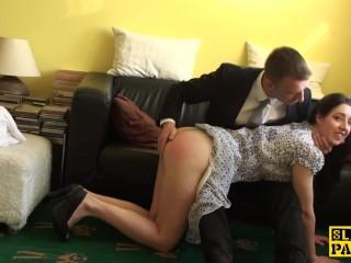 Spanked british sub riding maledoms cock...