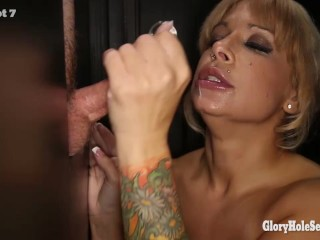 Gloryhole secrets alyssa lynn swallowing mouthfuls...