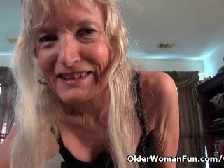Granny Claire Plays With Her Unshaven Pussy...