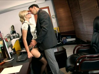 Secretary donna black seamed stockings...