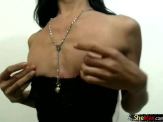 Petite black lingerie sucks big white dick