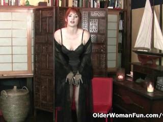 Redheaded Amber Dawn Looks So Slutty In Black Lingerie...