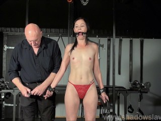 Restrained milf Lolanis amateur bdsm and tied tit tortures of suffering slavegirl in debutant domination session