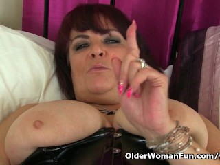 UK milf Christina X finger fucks in PVC and nylon tights
