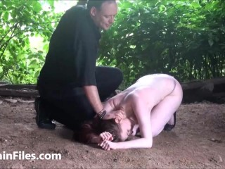 Crawling Saschas bizarre humiliation and outdoor domination of kinky amateur bdsm slave girl in messy degradation and whipping outside