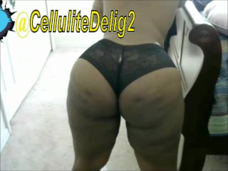 Cellulite delight shaking ebony black lace panties...