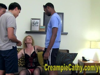 Young guys leave massive creampie...